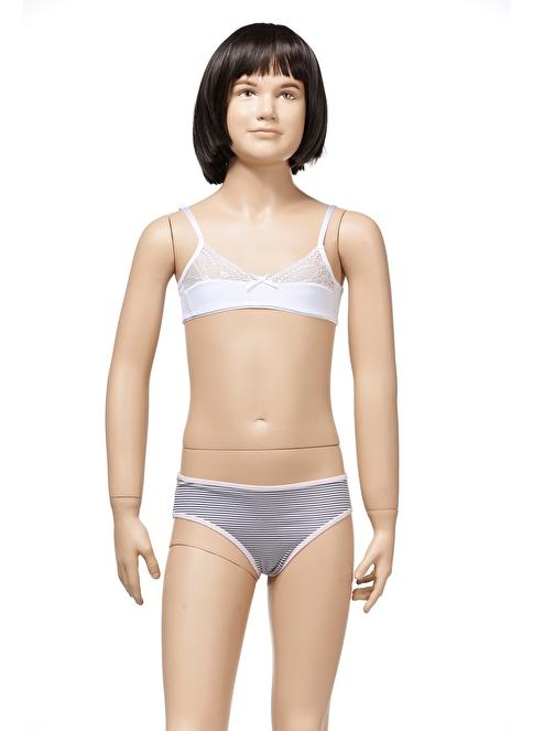 Zeyzey 2'Li Dantelli Kız Ç. Sütyen Beyaz